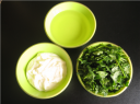 Yogurt,oil, and coriander leaves