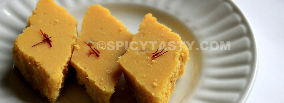 Cashew Besan Burfi (Chick pea and cashew nut Fudge)