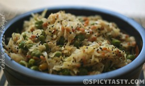 cabbage peas poriyal