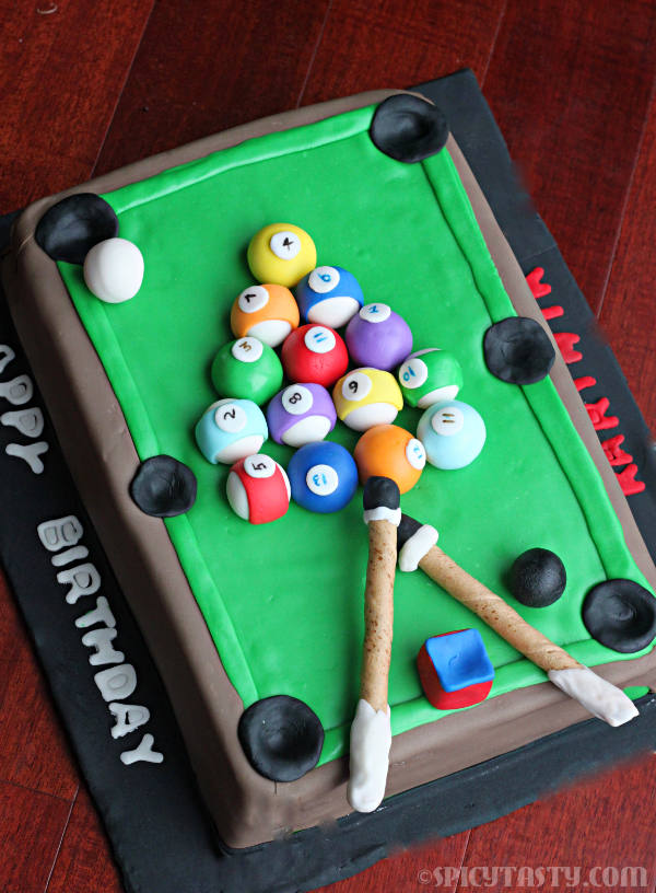 Cake Boss Decorating Table : How to make a Pool Table/Billiards Fondant Cake? Spicy Tasty