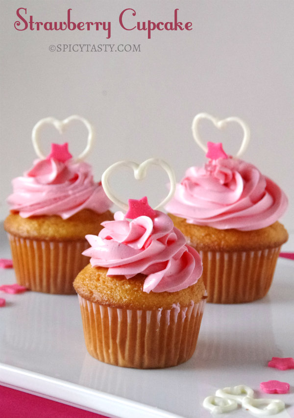 Strawberry Cupcakes - Valentine's Day Special | Spicy Tasty